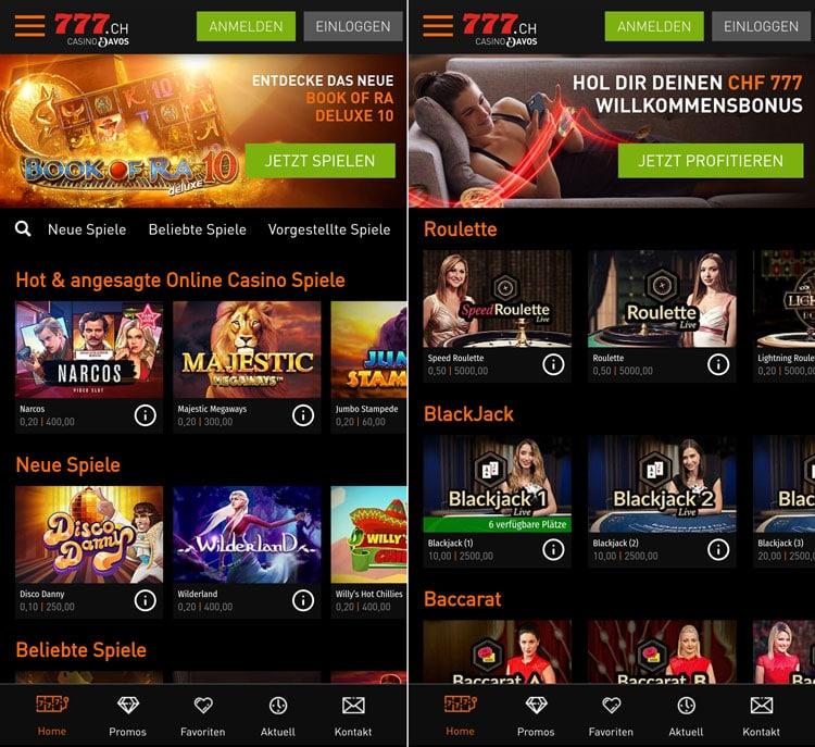 App Screenshot der Casino777 Web-App