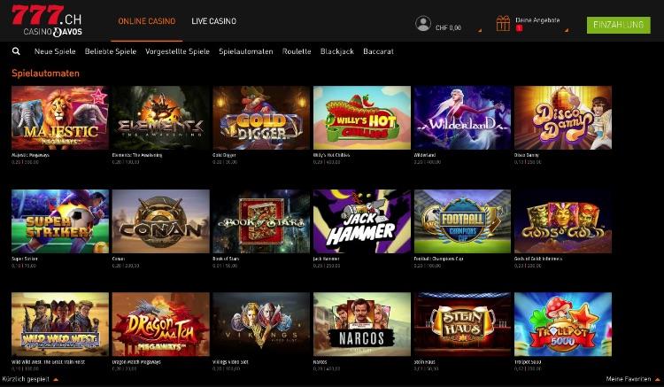 Übersicht der Spielautomaten im Casino777