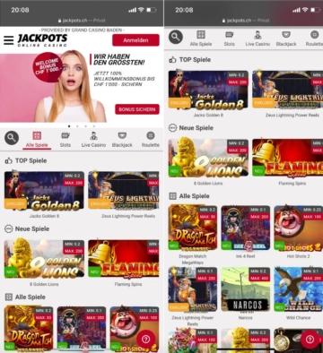 JackPots.ch Web App Screenshot