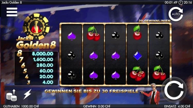 JackPots.ch exklusiver Slot Jacks Golden 8