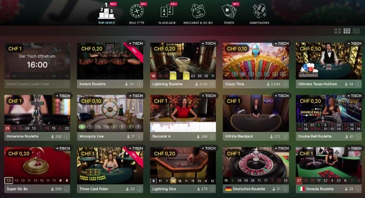 Live Casino Übersicht im mycasino