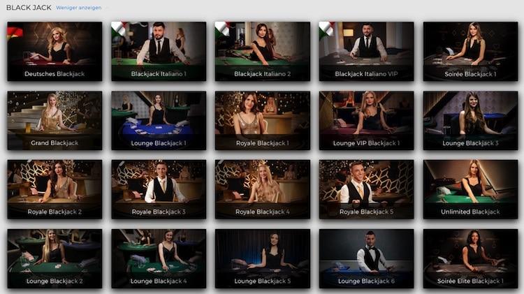 Black Jack Auswahl bei Swiss Casinos