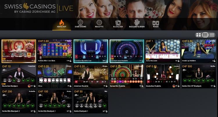 Swiss Casino Live Casino Ansicht