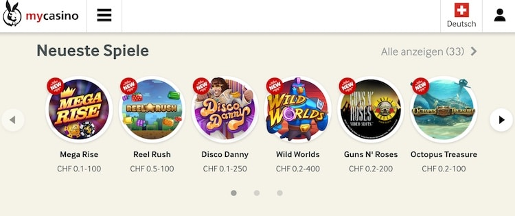 Neue Casino Spiele auf mycasino.ch