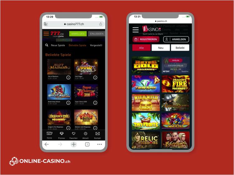 Mobile Ansicht von Online Casino Spielen in der Schweiz