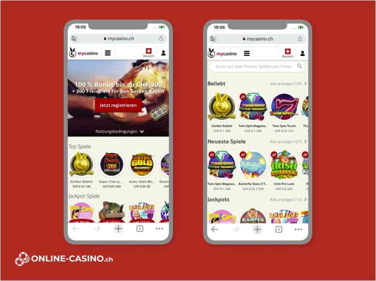 mycasino Bonus und Spieleangebot auf dem Smartphone