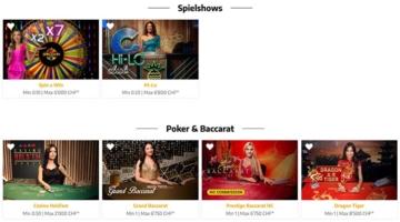 Spielshows und Poker bei Swiss4Win.ch